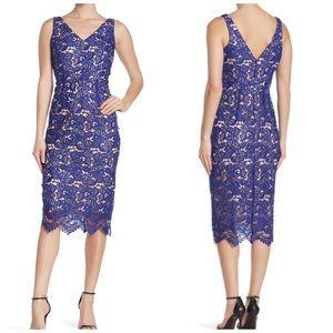 Marina  Dress Lace V-Neck Cobalt Scalloped Sz 14